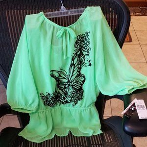 NWT Girls LimeGreen Sz M Blouse iz Brand Amy Byer